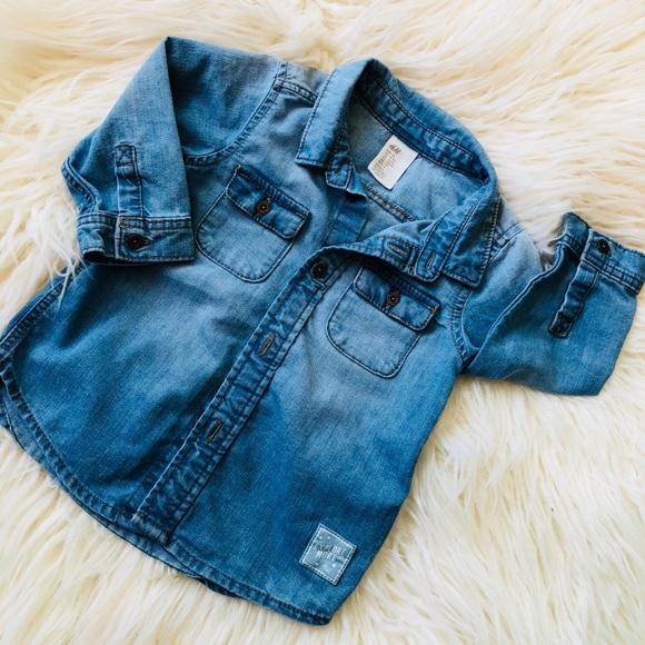 34f386ee9ced2 H M Baby Boy s Denim Jean Button Down Shirt